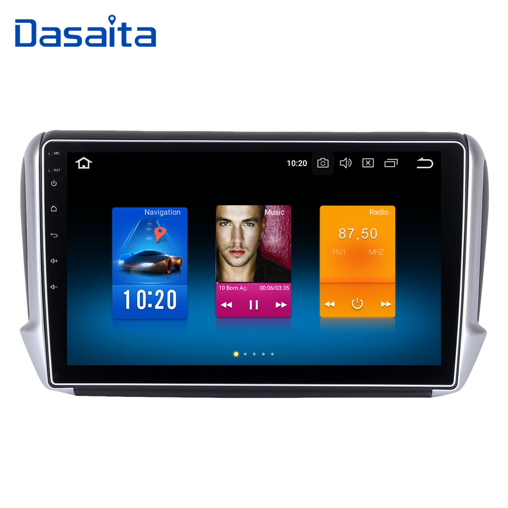 "Dasaita 10.2"" Android 8.0 Car GPS Player for Peugeot 208&2008 2012-2016 with Octa Core 4GB Ram Auto Radio Multimedia GPS NAVI 4G"