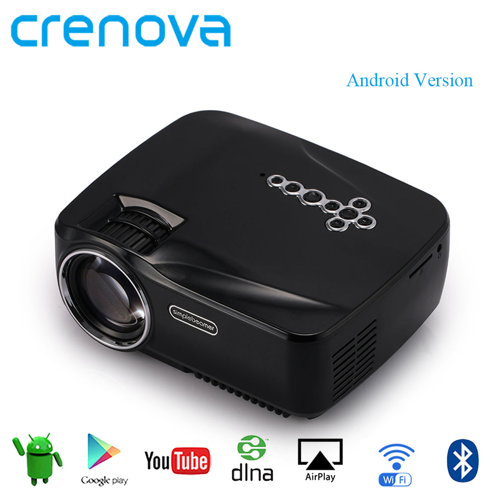 Crenova Android Projector With WIFI Bluetooth Support 4K*2K Video Projector For Home Theater Movie Beamer With HDMI VGA AV USB