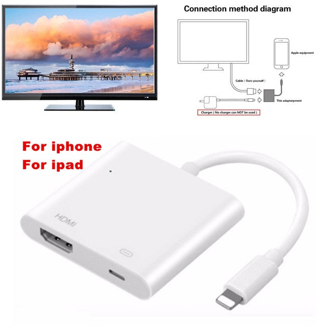Light to AV HDMI/HDTV TV Digital Cable Adapter For iPhone to HDMI Converter For iPhone X ,8,7,6 For Lightning Digital AV Adaptor
