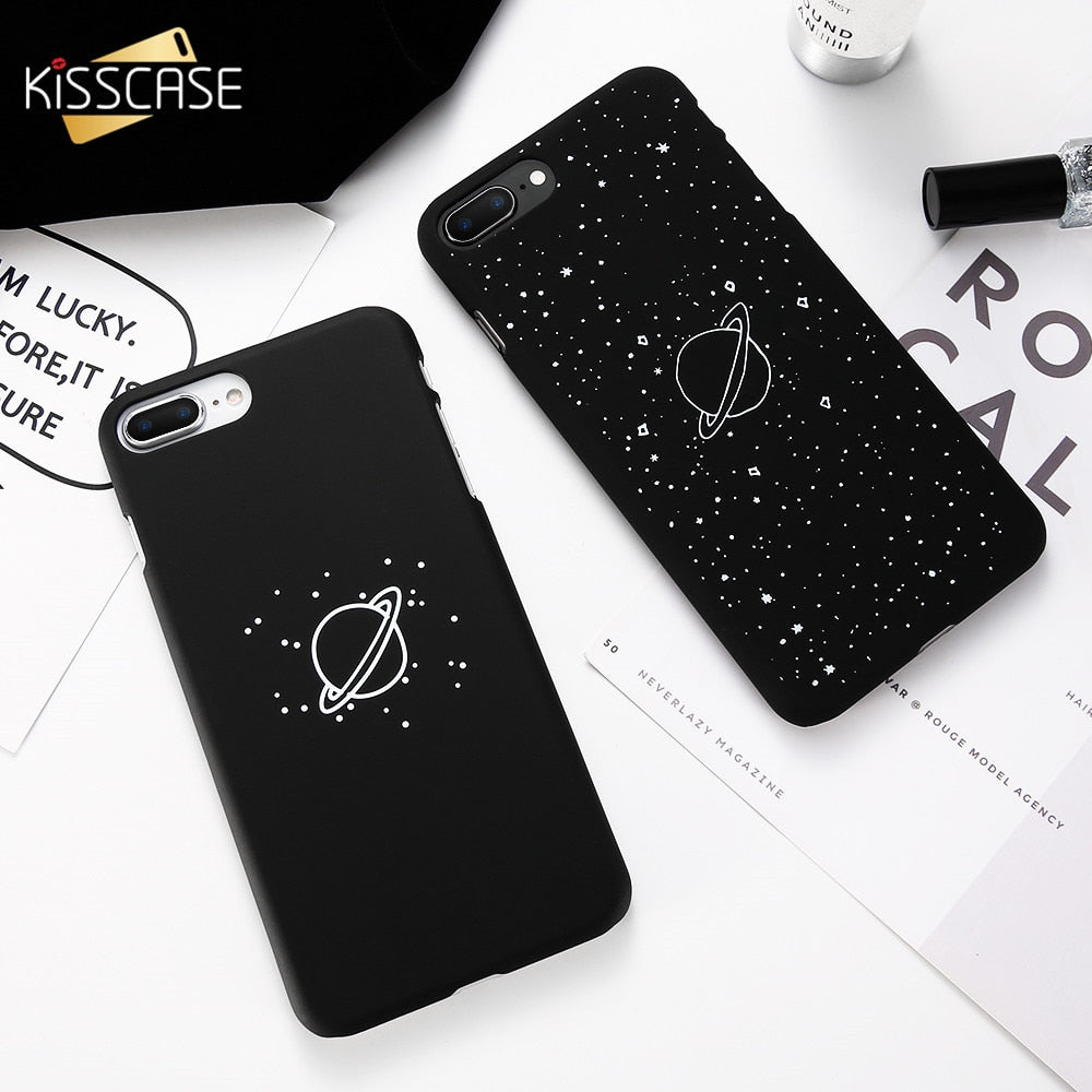 KISSCASE Universe Planet Matte Case For iPhone 5S SE X XS Max XR Cover For iPhone 6 6S 7 8 plus Case Cute Black Galaxy Capinhas