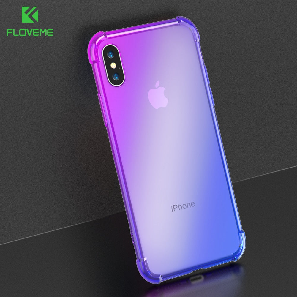 FLOVEME Gradient Anti-knock Case for iPhone X iPhone 7 8 plus Soft Phone Cases for iPhone 7 8 7 plus Silicon Clear Cover Fundas