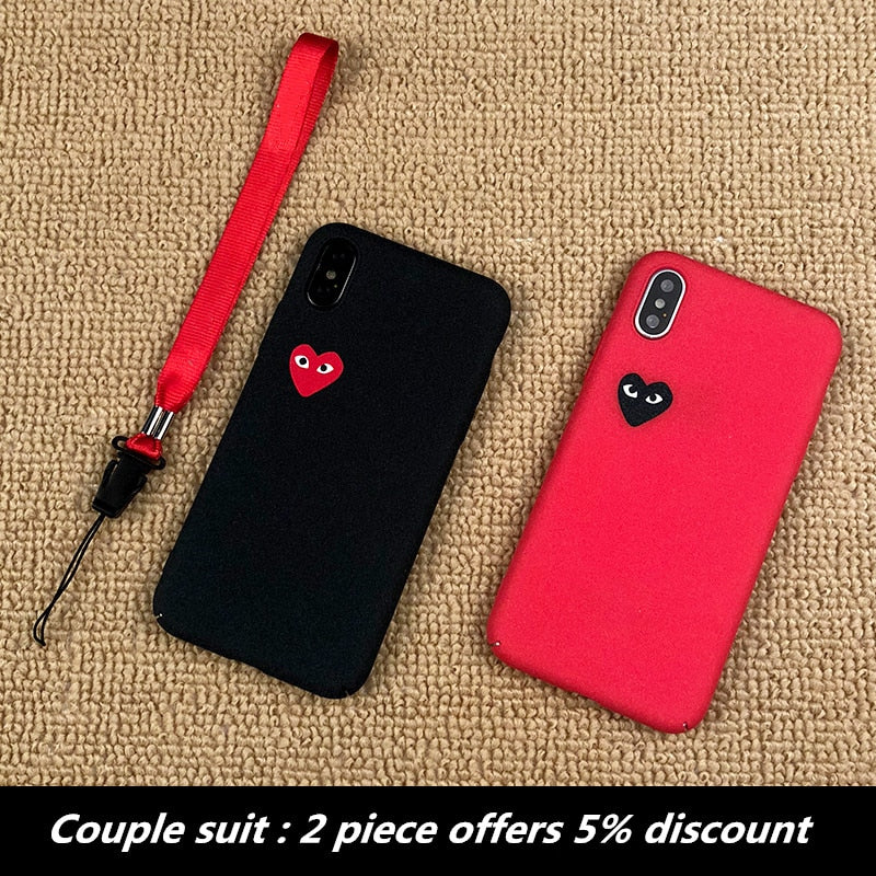 luxury plastic case hard matter Couple suit coque phone cover for iphone X XS MAX XR 10 8 7 6 6S plus cases CDG play Love capa