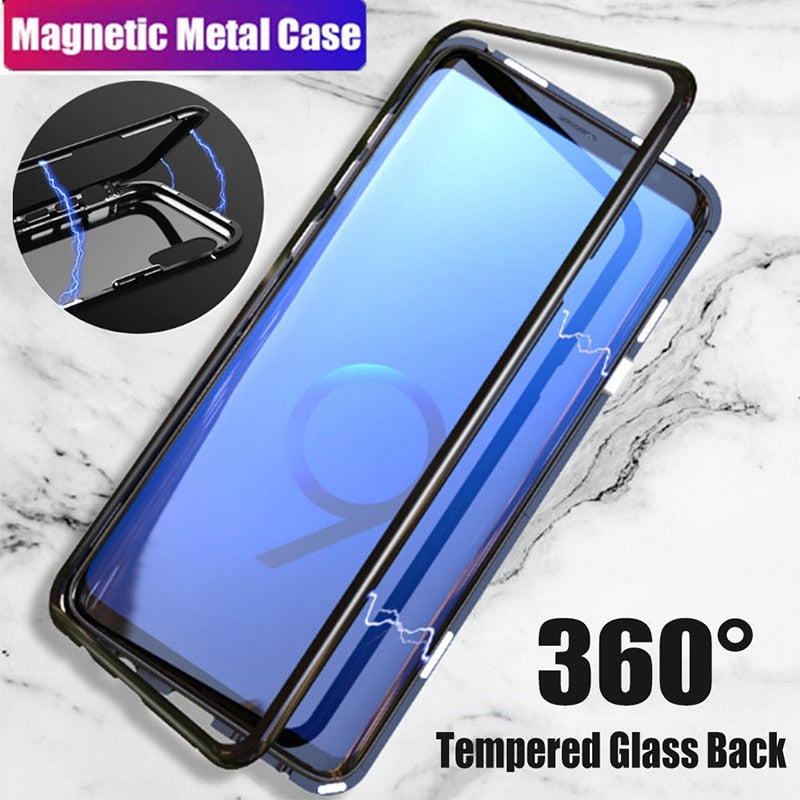 Magnetic Adsorption Metal Case For samsung s9 case Tempered Glass Cover For Samsung Galaxy S8 plus Note 8 9 cases stylish shell