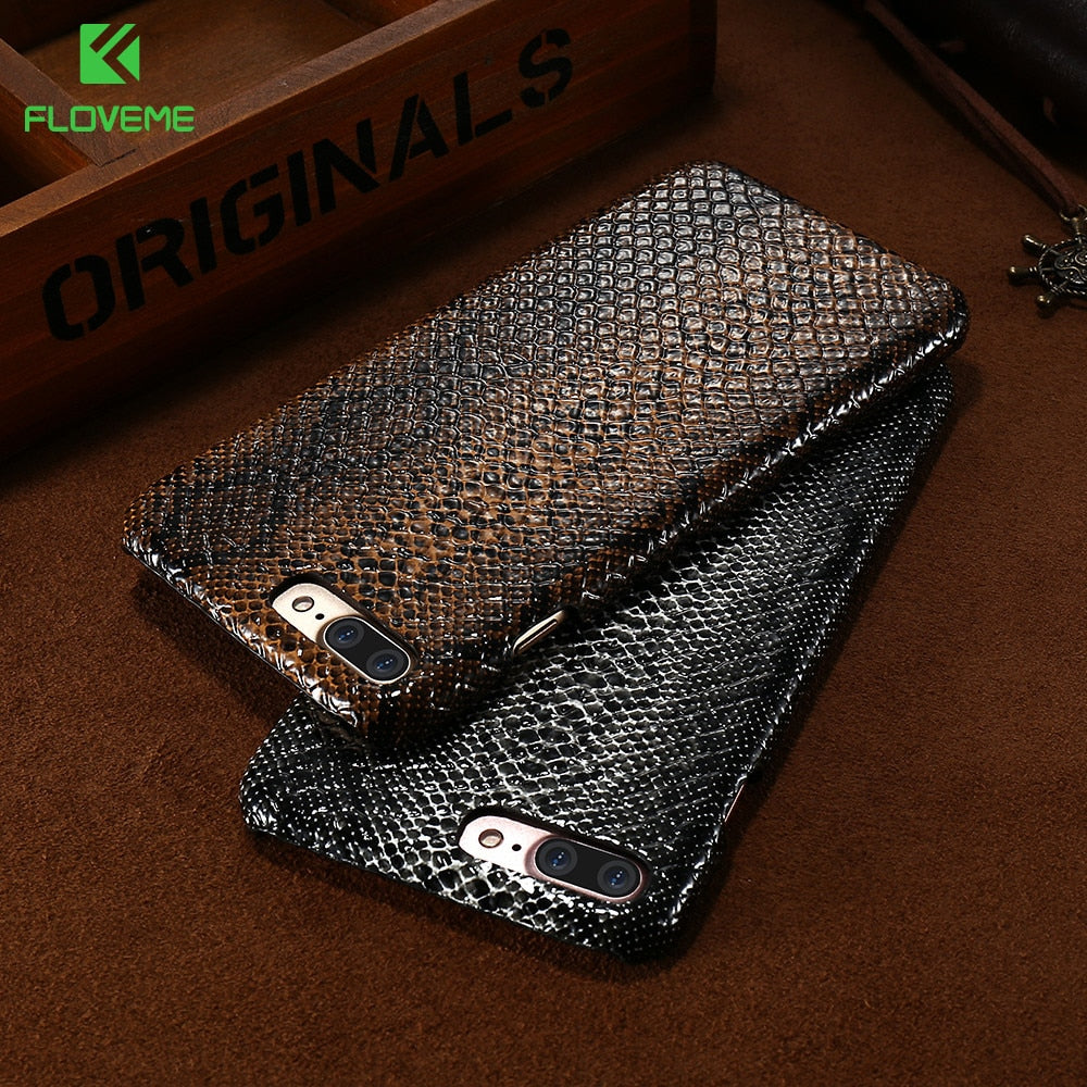 FLOVEME Luxury Phone Case for iPhone 7 8 6 plus Crocodile Snake Texture Cases for iPhone XR XS Max X 6s 5s 5 SE Cover Bag Coque