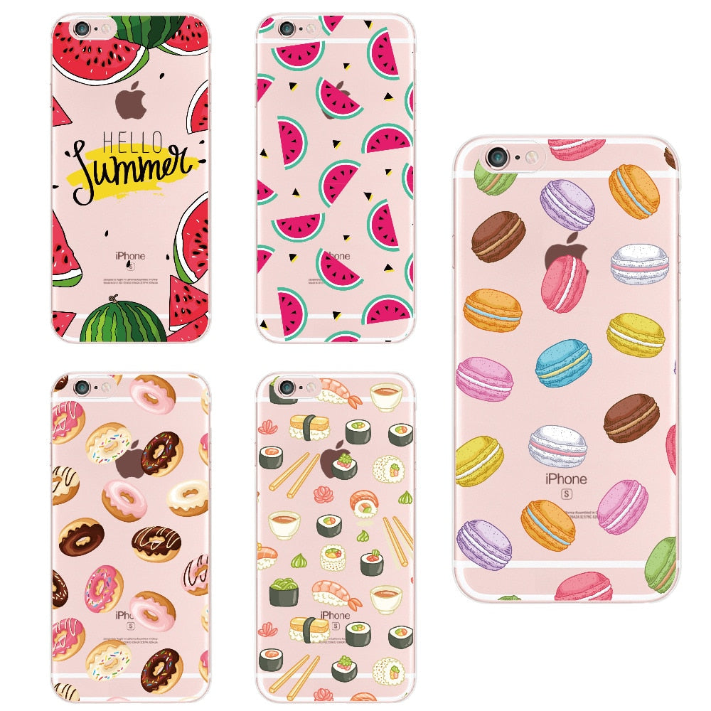 For Apple iPhone 6 XS Max 7 7Plus 8 8Plus X  Food Fruit Coffee Pineapple Lemon Banana Cactus Strawberry Sushi Phone Case Cover