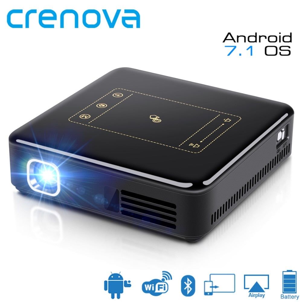 CRENOVA 2018 Newest DLP Projector For Full HD 4K With Android 7.1 WIFI Bluetooth Mini Portable Projector 8000 mAh Battery Beamer