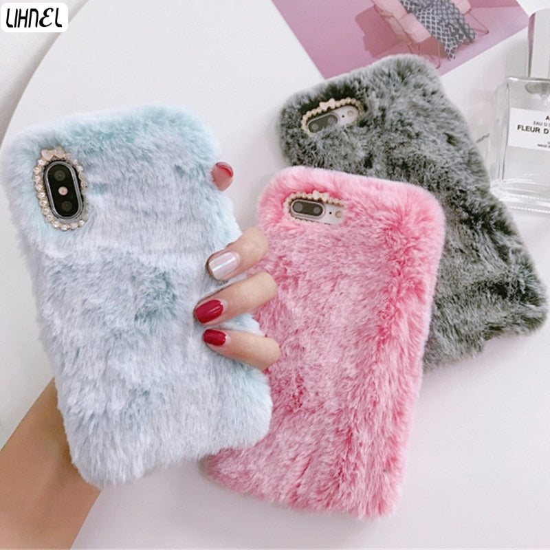 Fluffy Case for iPhone X XS XS Max XR Winter Warm Rabbit Fur hairy Fuzzy Plush Case for Apple iPhone 6 6S Plus 7 7Plus 8 8Plus