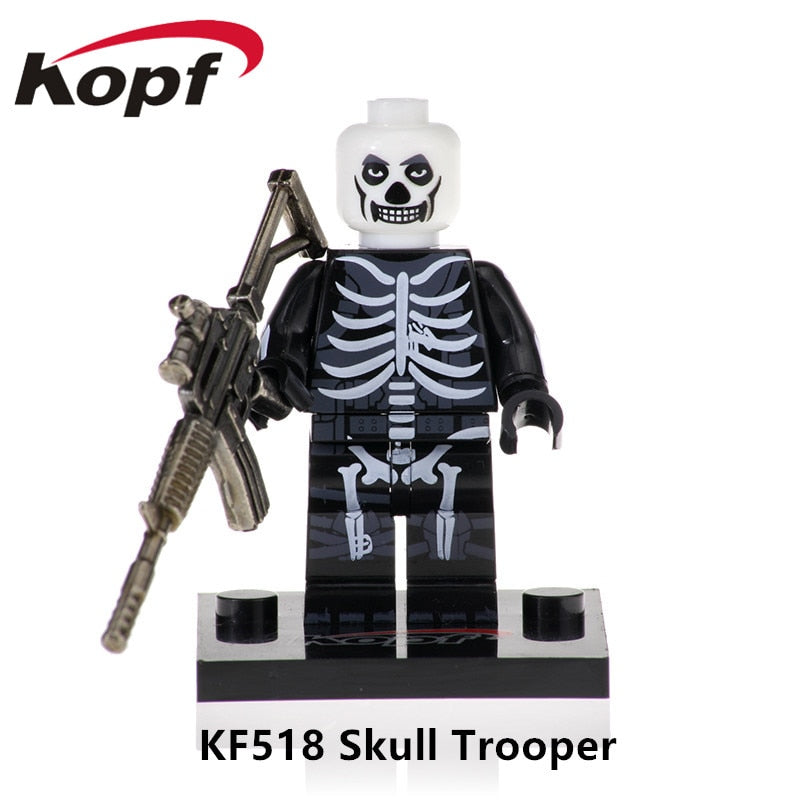 Single Sale With Real Metal Weapon Building Blocks Skull Trooper Ninja Game Fortnight Action Figures Gift Toy For Children KF518