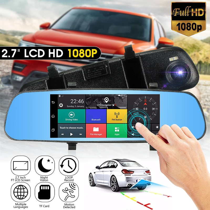 Kroak 2.7 Inch LCD DVR Car Camera Dash Cam Digital  Video Recorder Rearview Mirror 5V 1A Auto Video With RU Stock