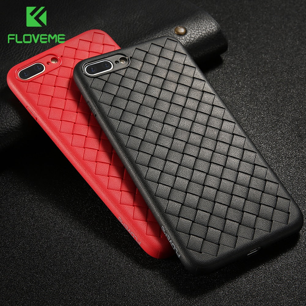 FLOVEME Soft Phone Case For iPhone XR XS Max Luxury Grid Weave Silicone Case For iPhone X 7 8 Plus 6 6s Cover Cases Coque Fundas