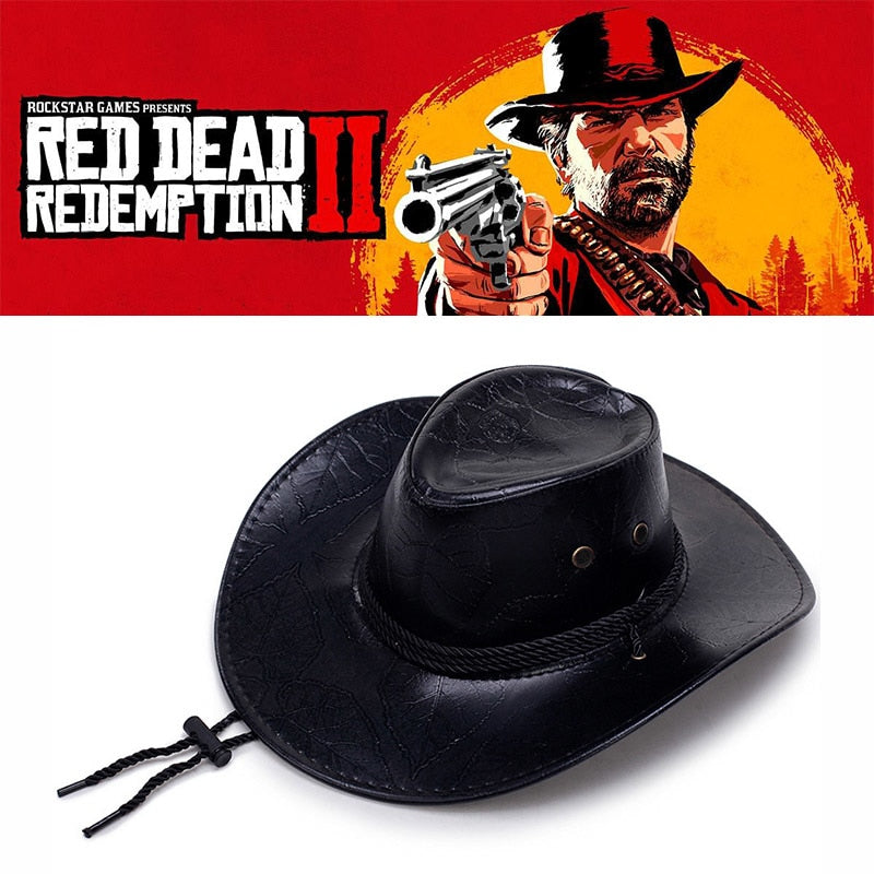 e7ec433c9a5 ... Game Red Dead Redemption 2 Cowboy Hat Cosplay Costume Prop Hats Leather  Unisex ...