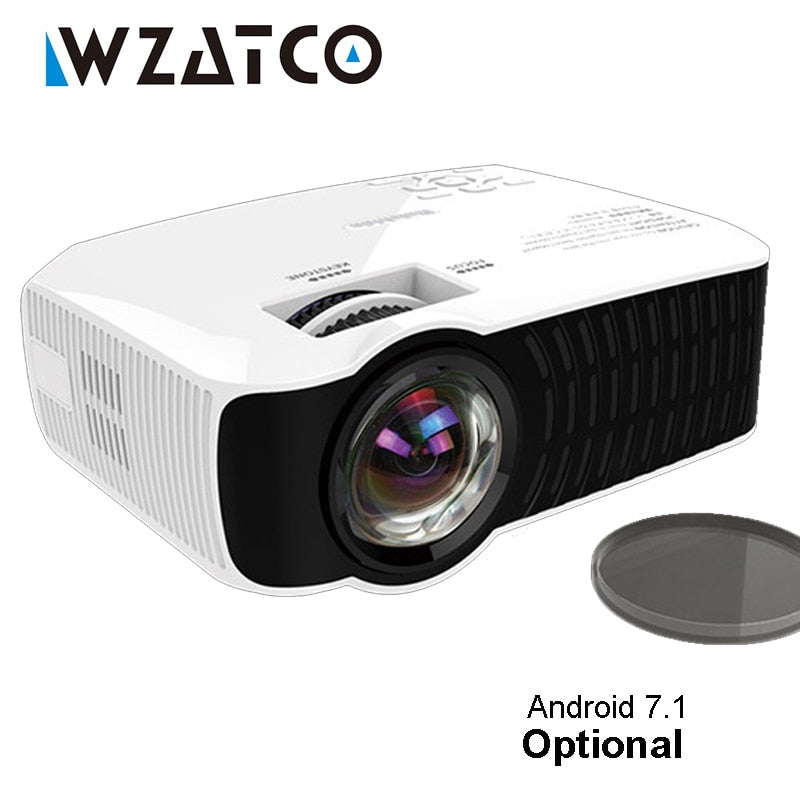 WZATCO C23K MINI Projector 2600 Lumens Optional Android 7.1 Portable Video LCD HD Beamer HDMI VGA USB Home Theater Proyector