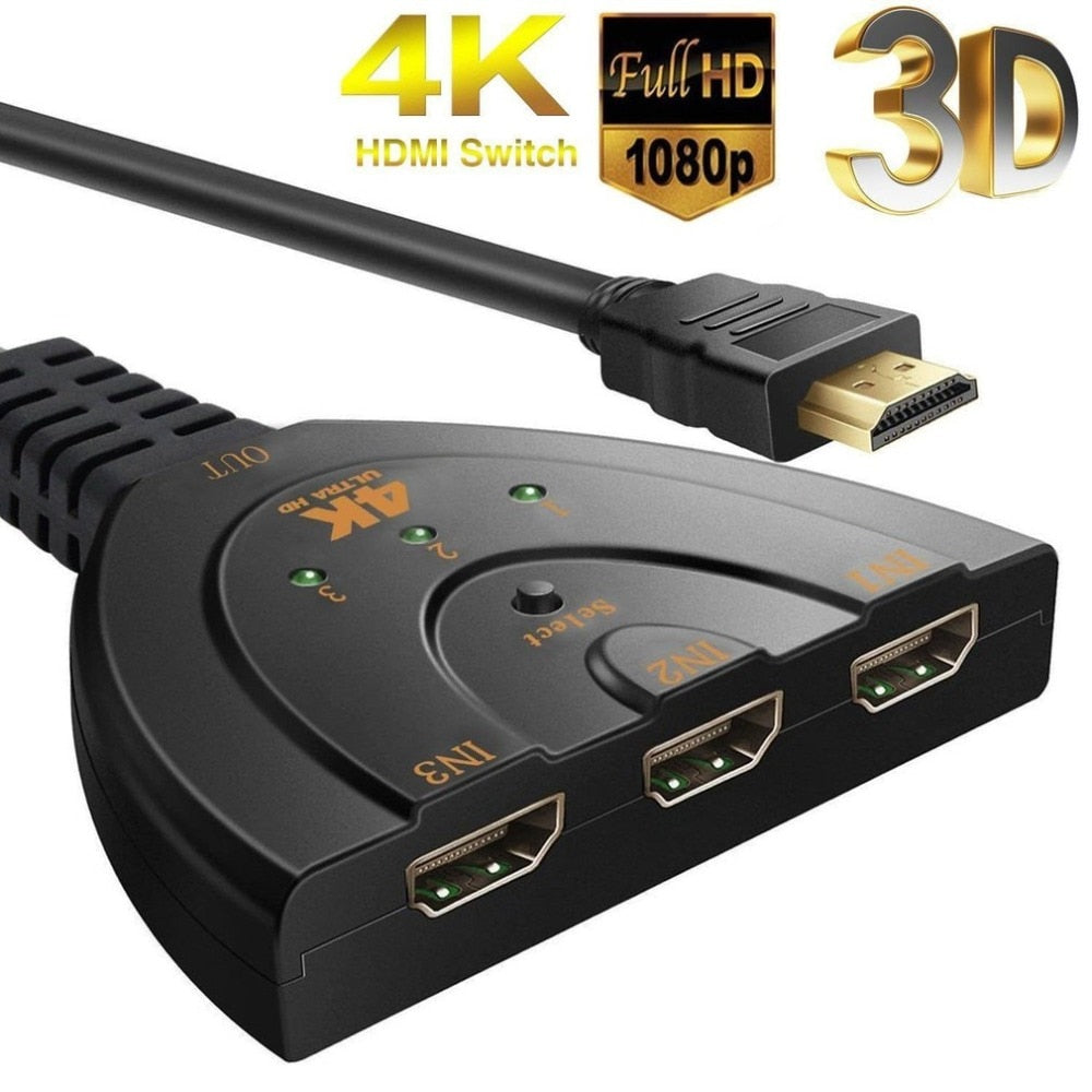 Mini 3 Port HDMI Splitter Adapter Cable HDMI Switch 4K*2K 1080P Switcher 3 in 1 out Port Hub for HDTV for PS3 PS4