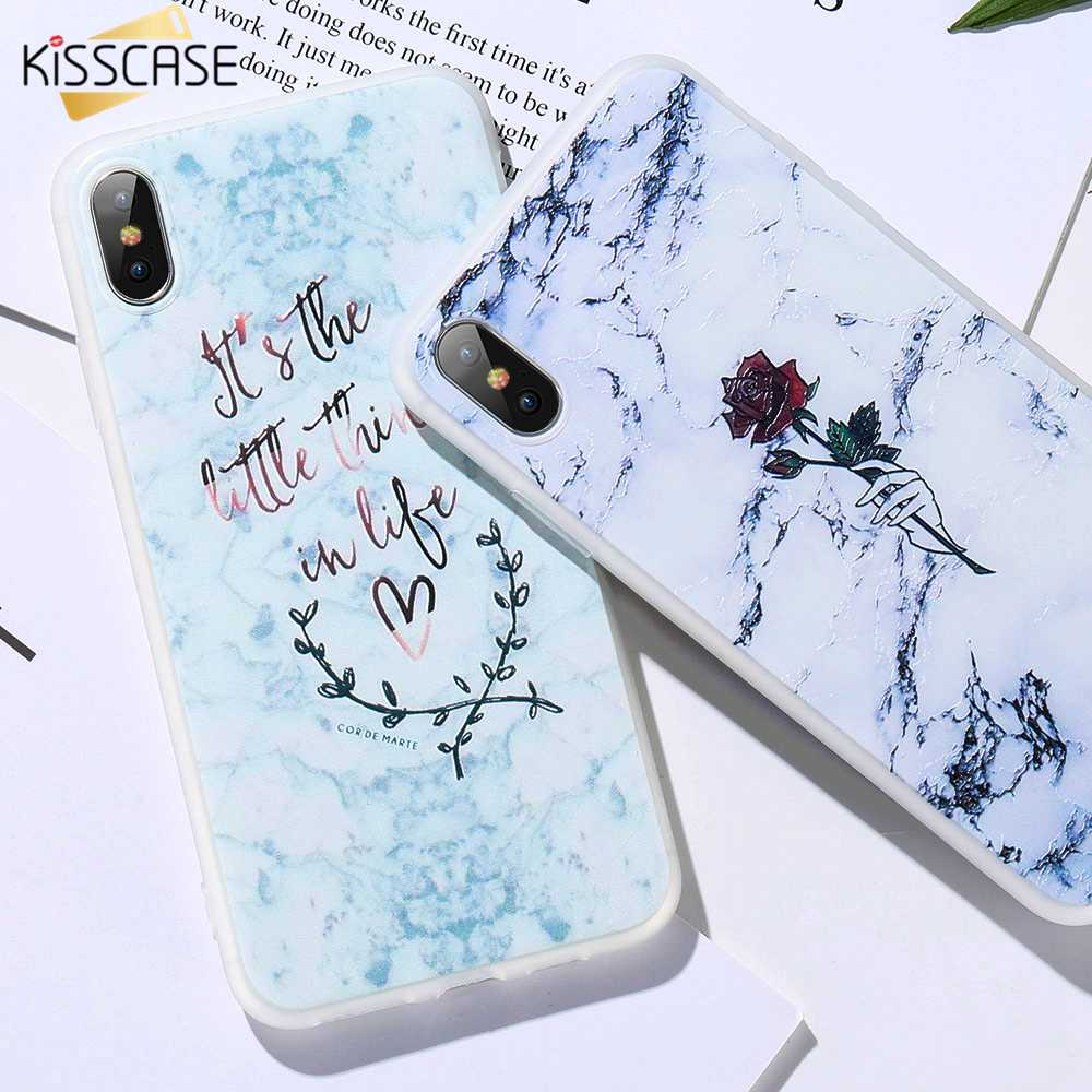 KISSCASE Marble Phone Case For iPhone 5 5s Se X XS Max XR Rose Pattened Soft Coque Case For iPhone 6 6S 7 8 Plus TPU Back Covers