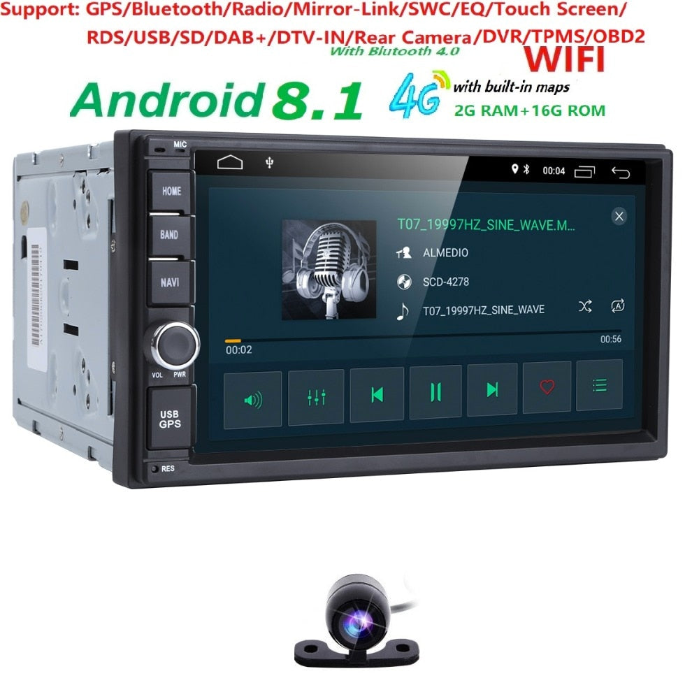 2G RAM Android 8.1 Auto Radio Quad Core 7Inch 2DIN Universal Car NO DVD player GPS Nissan Audio Head unit Support DAB DVR OBD BT