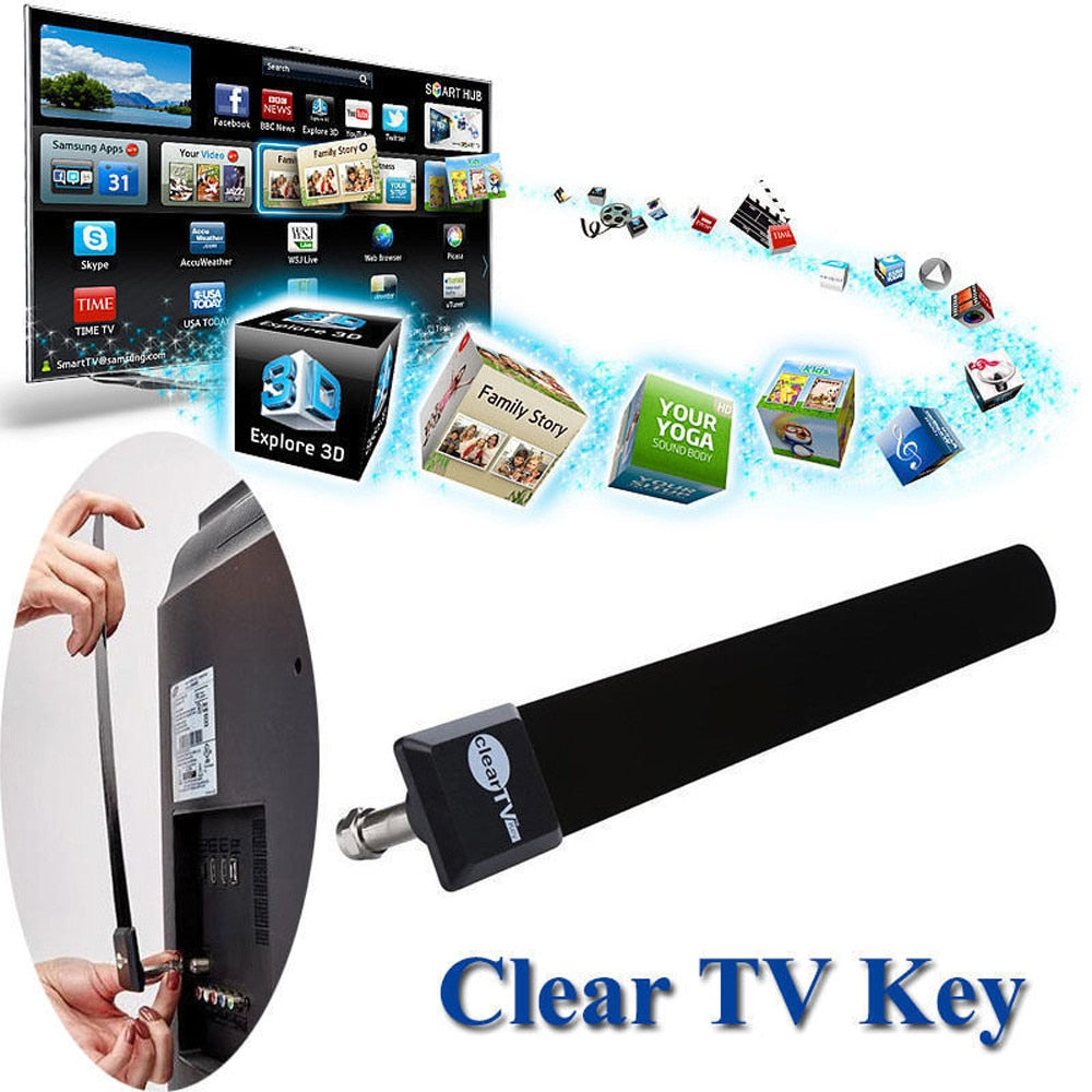 Clear TV Key HDTV FREE TV Digital Indoor Antenna 1080p Ditch Cable As Seen on TV drop shipping 0830