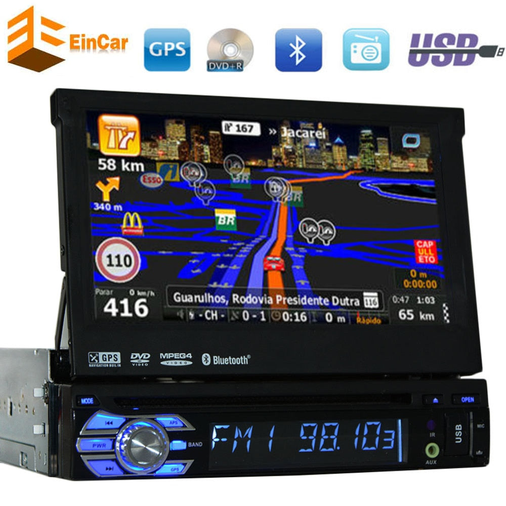 Single-DIN 7 inch Motorized car styling Car DVD Player Receiver Bluetooth Detachable Front Panel Wireless GPS Car Stereo in dash