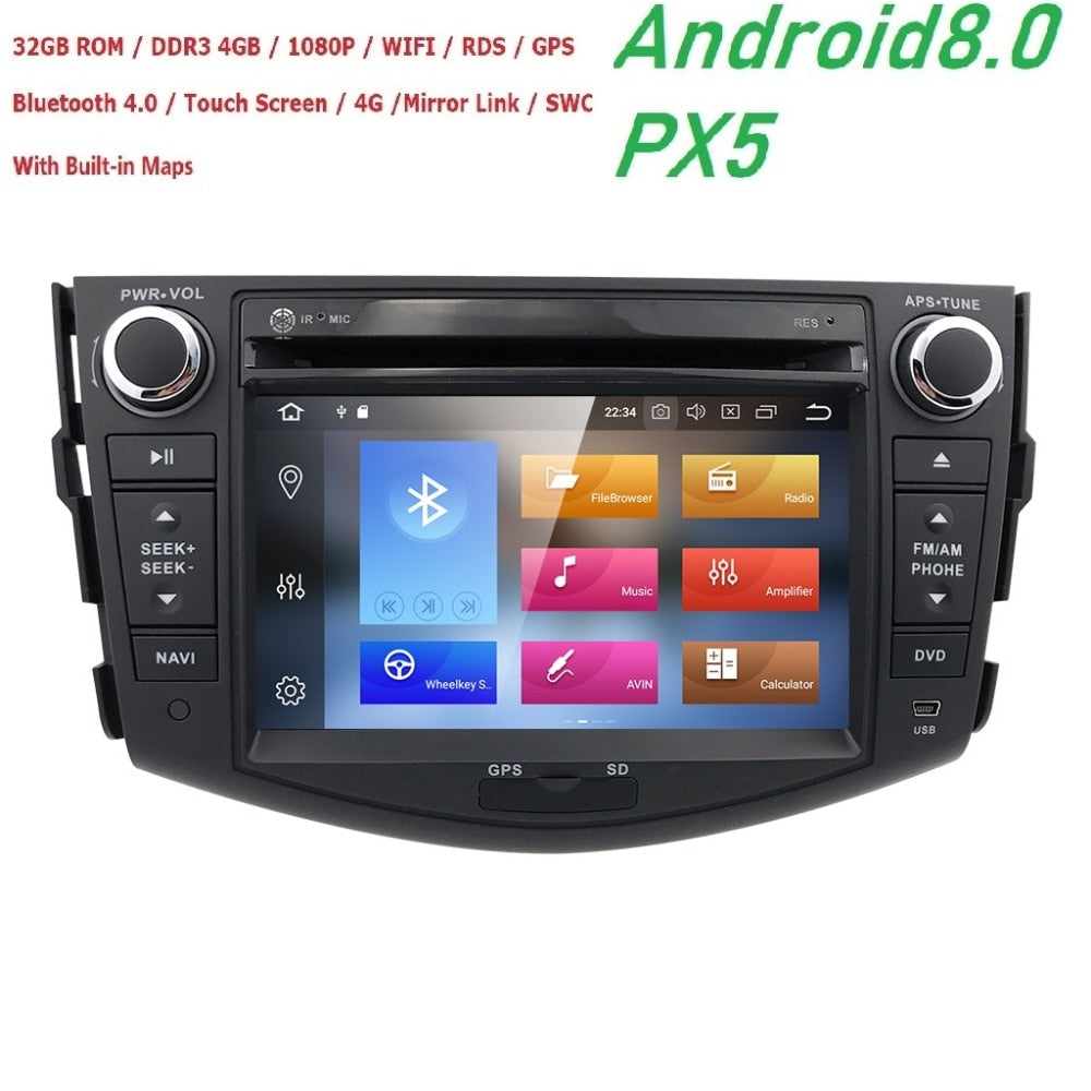 Hizpo NEW !!! PX5 Android 8.0 car dvd player for Toyota RAV4 Rav 4 2007 2008 2009 2010 2011 2 din 1024*600 car dvd gps wifi rds