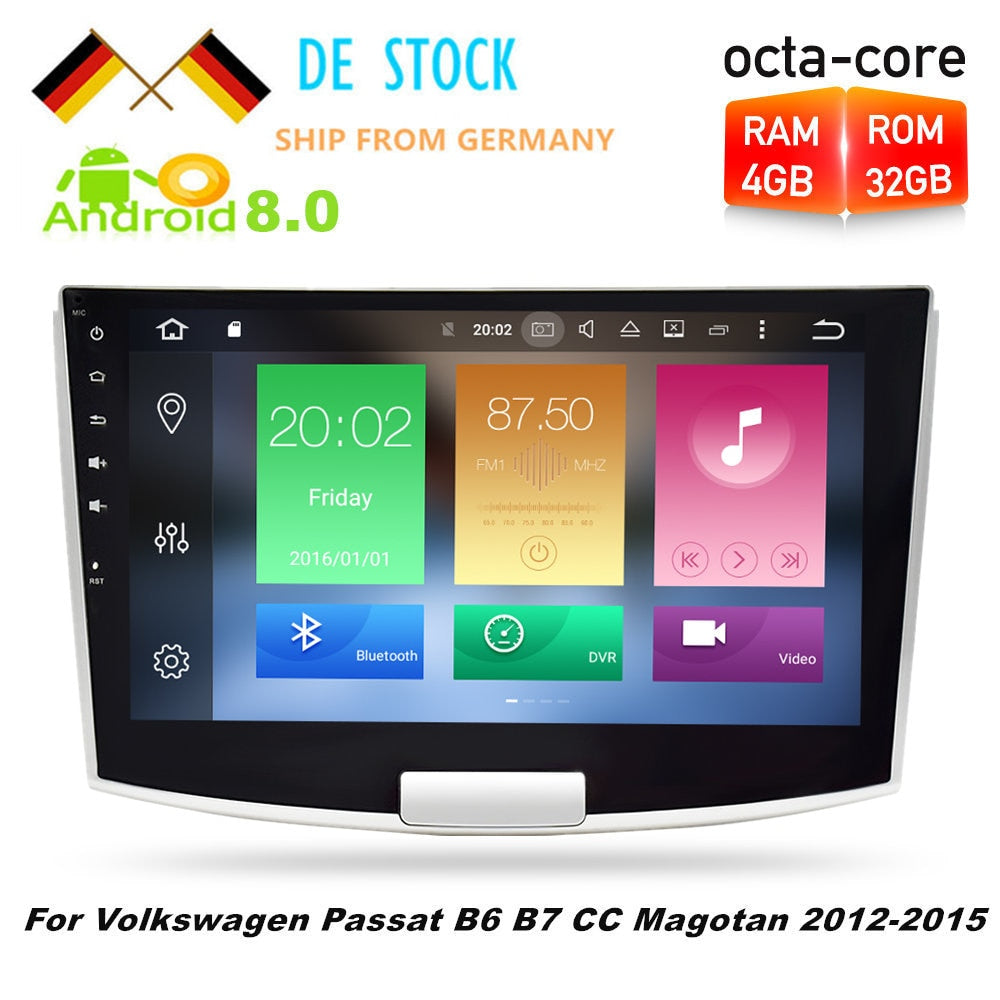 4GRAM Octa Core Android8.0 Car Radio GPS Navigation Multimedia Stereo For Volkswagen Passat B6 B7 CC Magotan 2012 2013 2014 2015