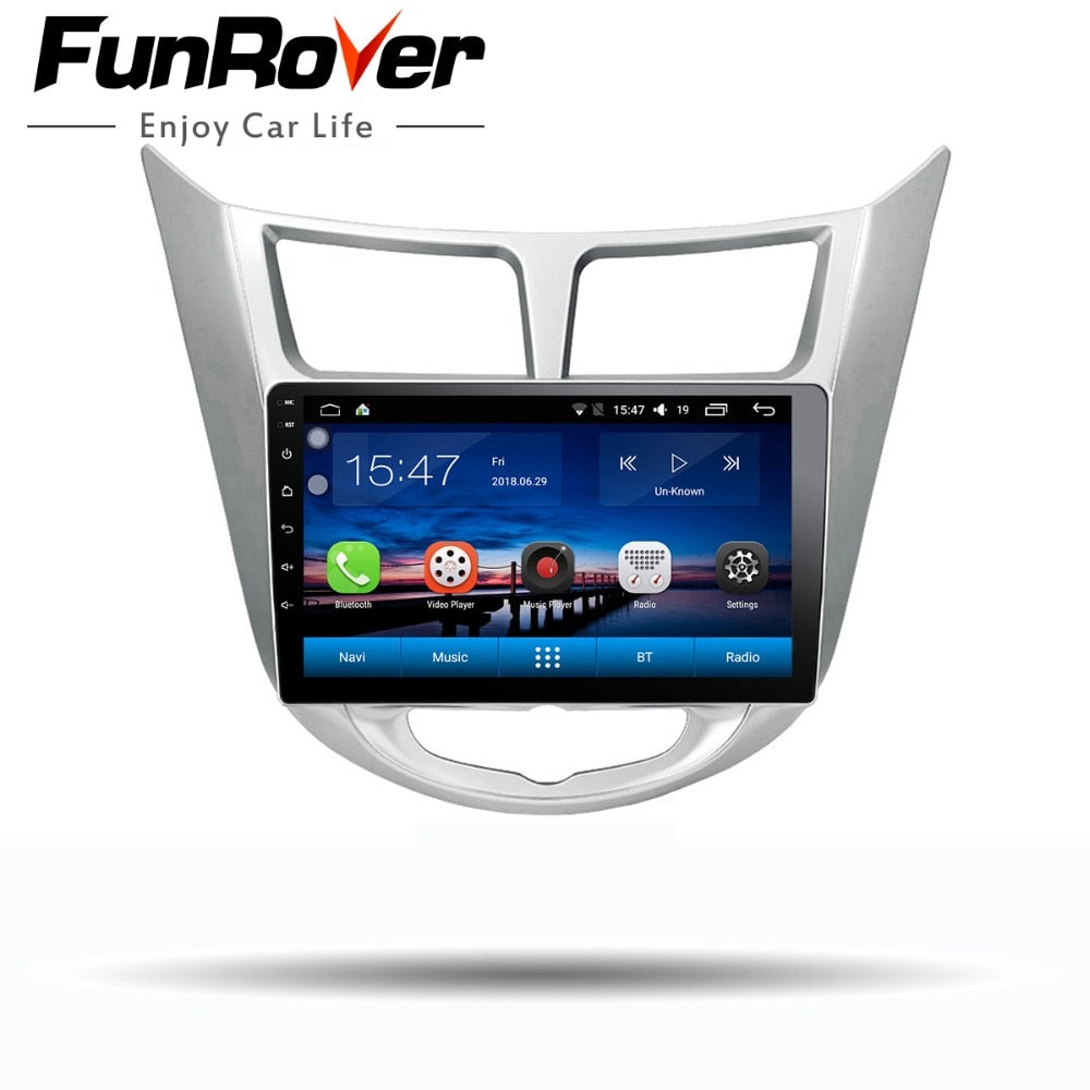"Funrover 9"" Android 8.0 2 din Car DVD GPS Player For Solaris Verna Accent with gps navigation radio video car stereo multimedia"