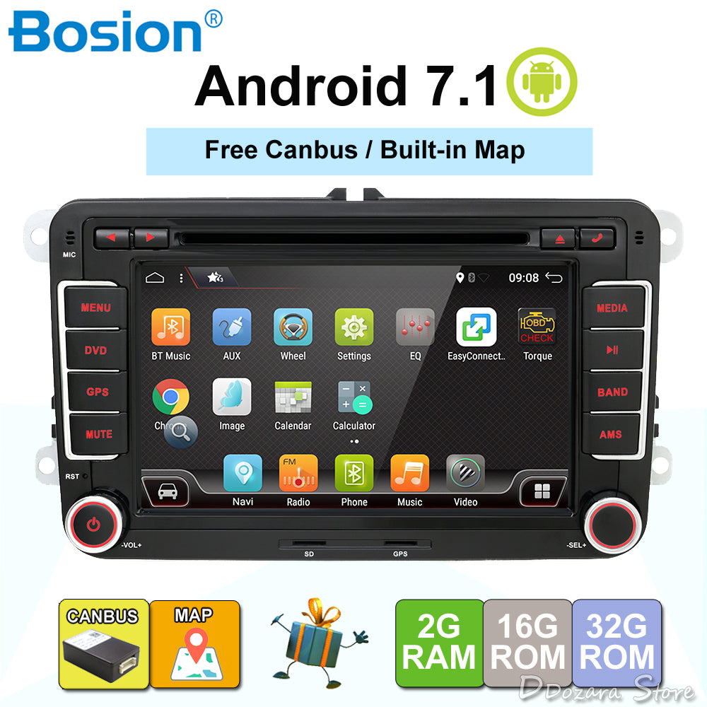 3G Quad Core 2 din Android 7.1 Car DVD player for VW GOLF 5 Golf 6 POLO PASSAT SKODA CC JETTA TIGUAN TOURAN GPS