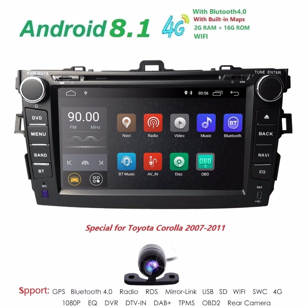 "8""Quad Core 2 din car radio dvd gps android 8.1 For Toyota corolla 2007-2011 in dash autoradio multimedia head unit 2G Ram Wifi"