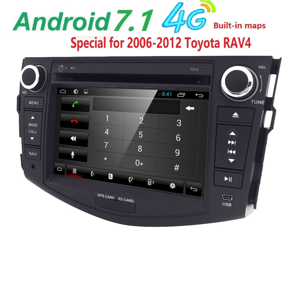 Quad Core 1024*600 HD Screen 2 Din Android 7.1 Car DVD for Toyota Rav 4 RAV4 Audio Video Stereo GPS Navigation Radio RDS 4G Wifi