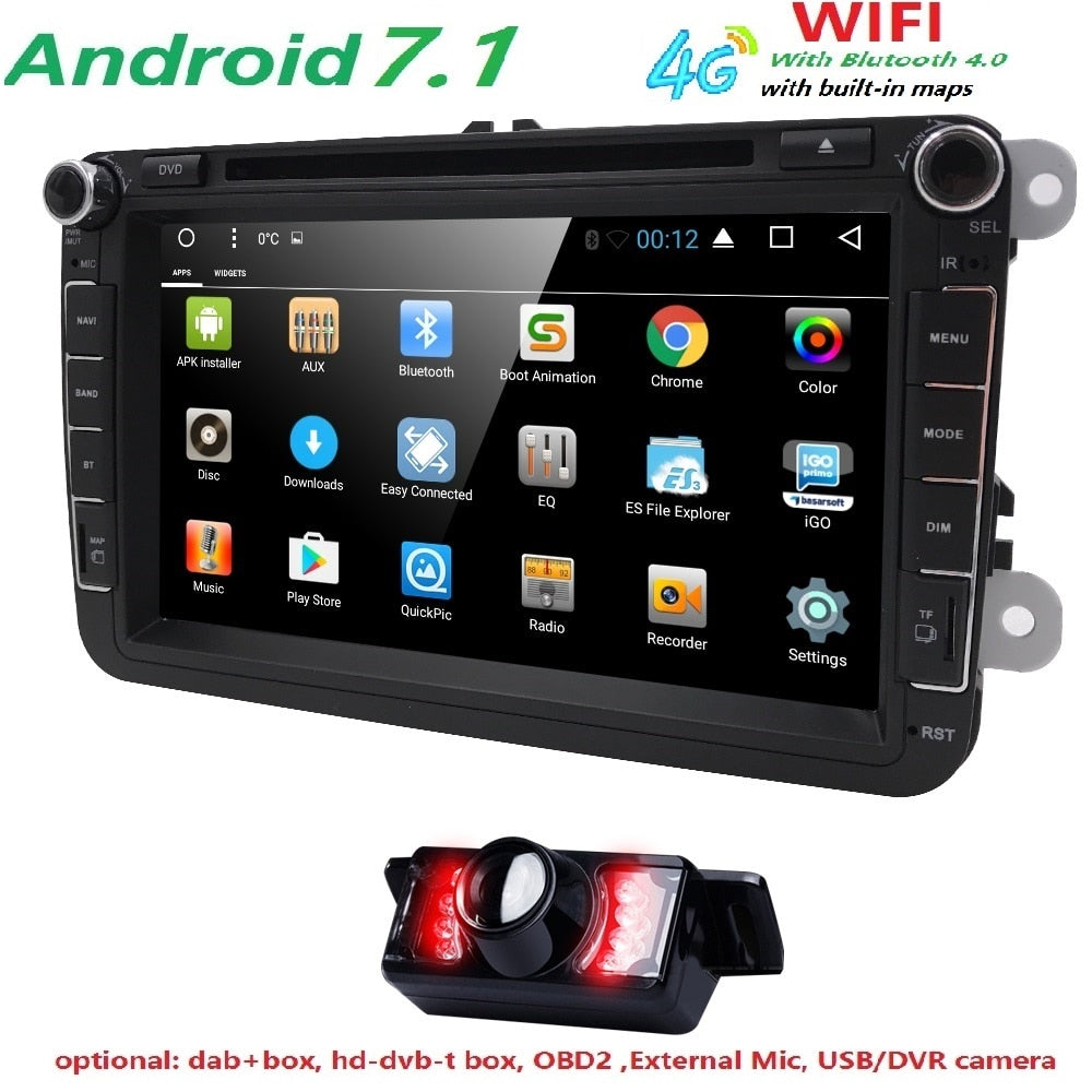 "Android 7.1 7"" 2din Car DVD for VW POLO GOLF 5 6 POLO PASSAT B6 CC JETTA TIGUAN TOURAN EOS SHARAN SCIROCCO CADDY with 4GGPS Navi"