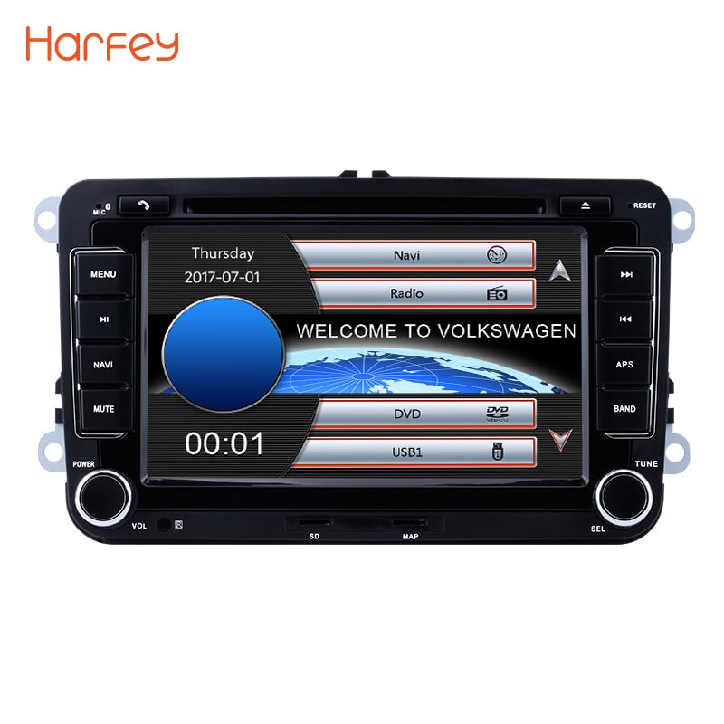 "Harfey 7"" 2 din Car Radio CD DVD Multimedia Player GPS Navigation  For Skoda Yeti Superb Rapid VW Passat Seat Altea/Leon Golf"