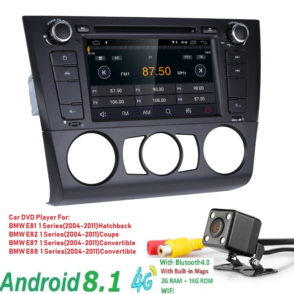 2GRam16G ROM 1Din car autoradio gps Android 8.1 dvd-speler Voor for BMW 1 Serie E81 E82 E87 E88 I20 2004-2011navigation BT Wifi