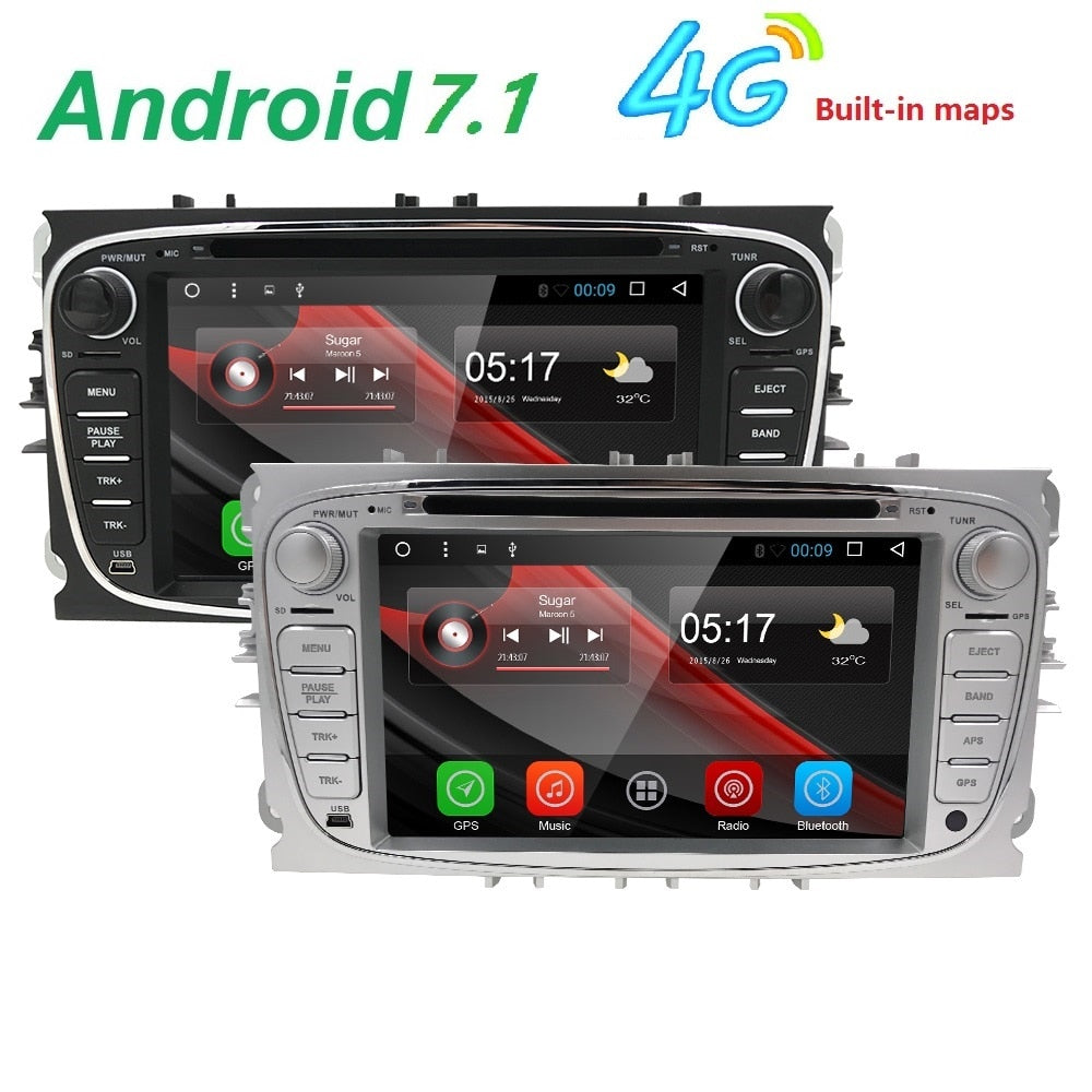 "7"" Android 7.1 Car Radio DVD For FORD/Focus/S-MAX/Mondeo/C-MAX/Galaxy Quad Core 4GWifi GPS Navigation Headunit Audio FM USB DAB+"
