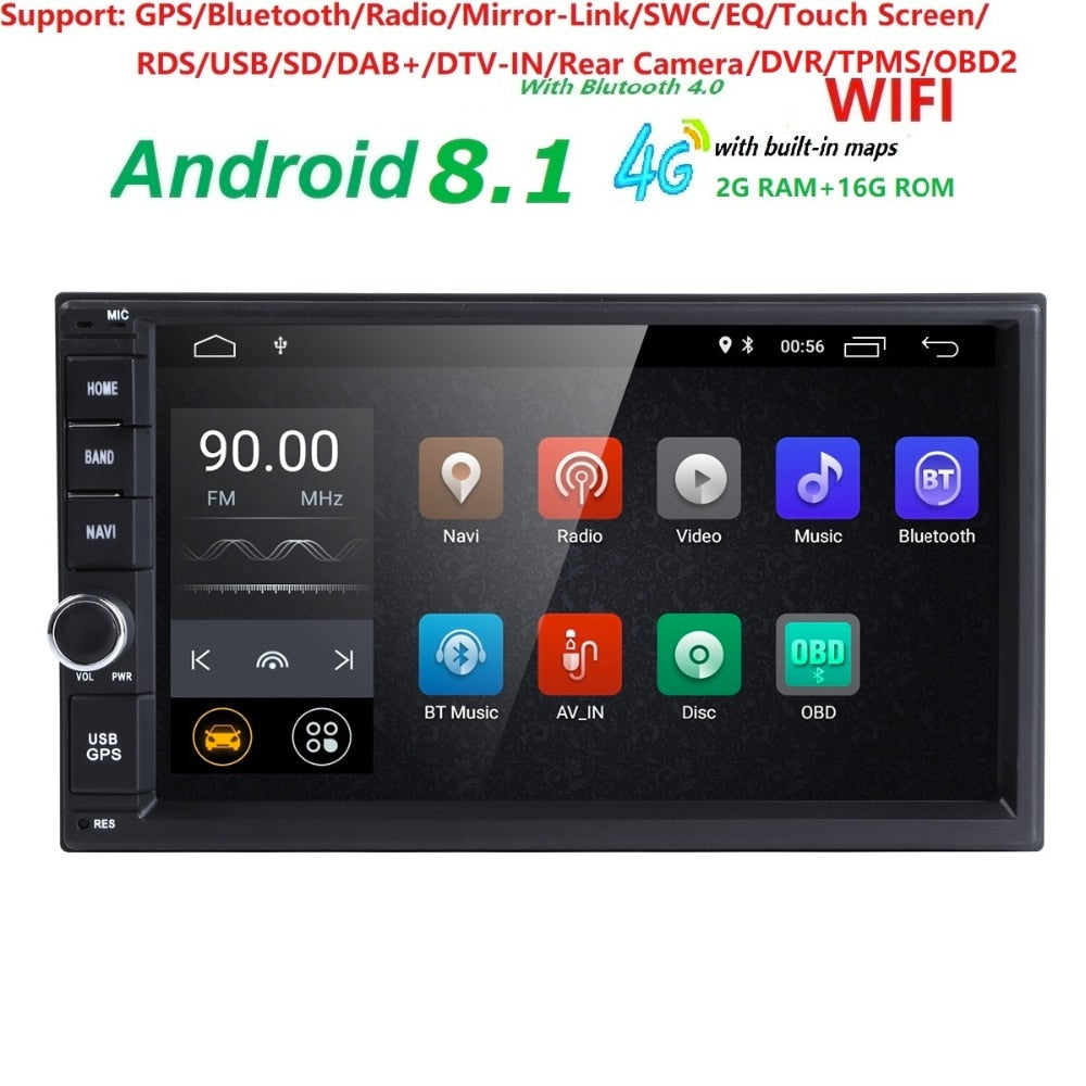 android 8.1 car dvd player universal GPS navigation for x-trail Qashqai juke nissan 1024*600 gps DAB+car radio video player TPMS
