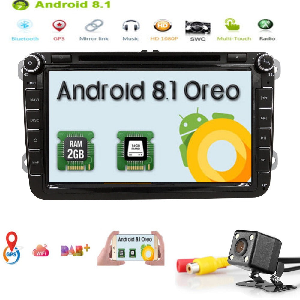 "2Din 8""Android8.1 QuadCore Car DVD Player Radio for vw Volkswagen Golf Plus Passat CC Touran Tiguan Sharan Skoda Seat DAB+ 2GRAM"