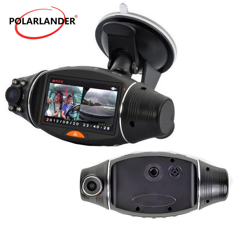 1080P Car Camera 2.7 Inch HD TFT LCD Night Vision Camera G-sensor DVR R310 With GPS Dual Lens Video Recorder Dash Cam Infrared