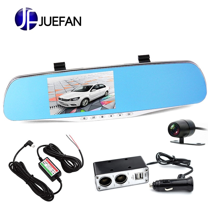 FHD 1080P car camera 4.3-inch Mirror Rearview screen dual lens Car DVR Night Vision  rearview mirror auto dvrs Stop Recording