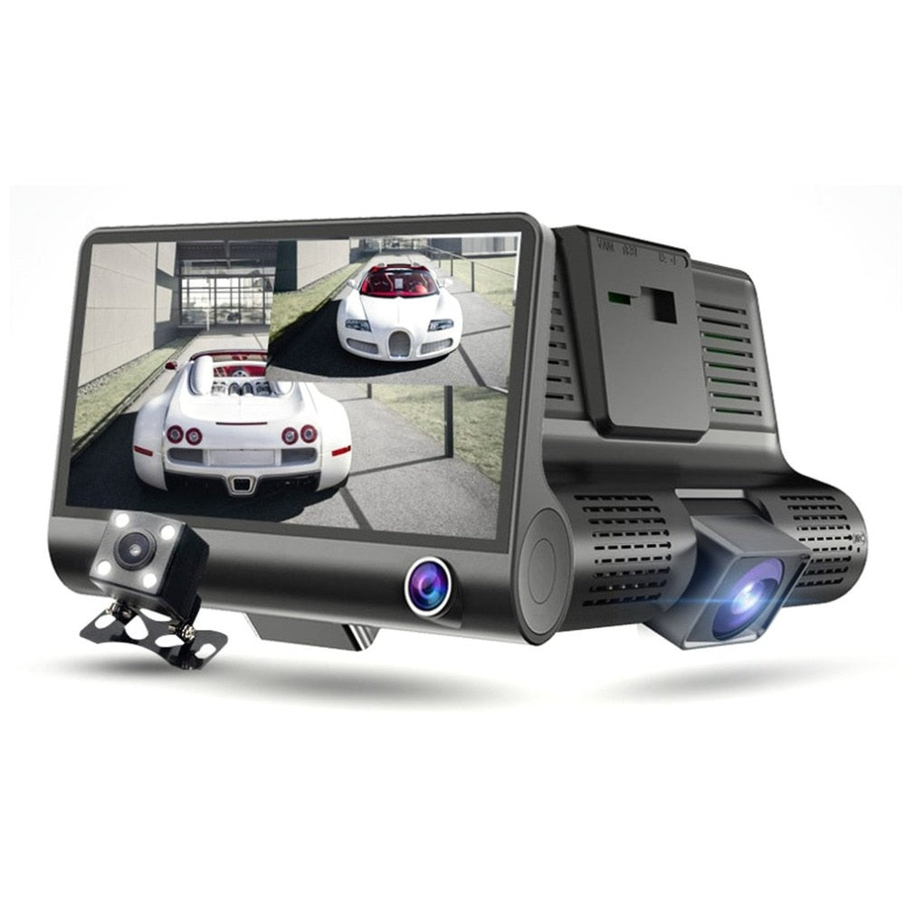 3 Lens Car DVR Front/Inside/Rear Full HD 1080P Car Camera Motion Detection Dash Cam Night Vision Drive Recorder
