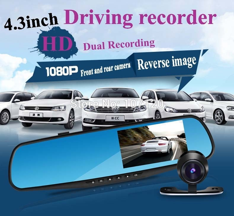 2015 New High Quality 4.3 inch Full HD 1080P Car Rearview Mirror DVR Car Camera Night Vision Dual Camera Video Recorder