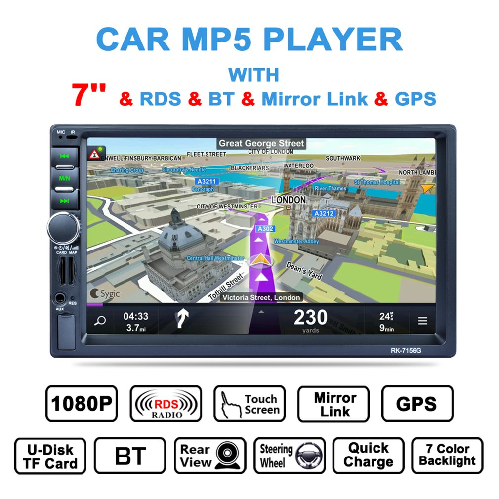 New RK-7156G 2 Din 7inch Car MP5 Bluetooth FM/RDS Radio HD Touch Screen GPS Navigation Car Multimedia Player with Map Card