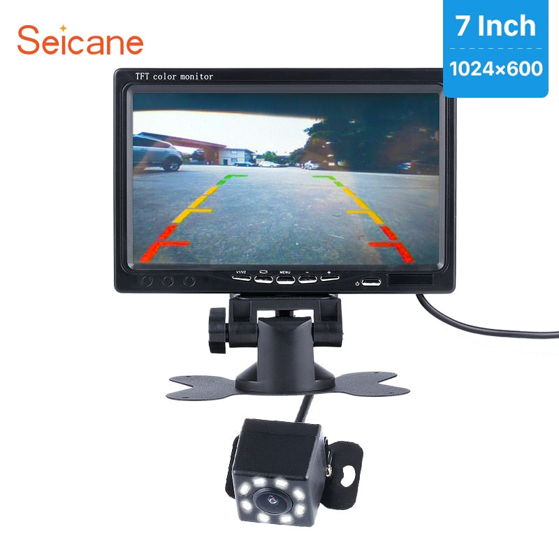"Seicane  7"" Car Monitor 1024*600 DVR LCD Display Parking Digital Video Recoder with 8 LED Night Vision Rearview Camera CCD free"