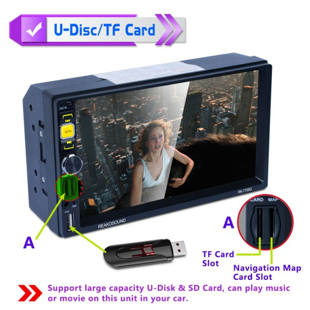 "new 7159G 7"" Full HD 1080P Car DVD MP5 Player GPS Navigator Bluetooth FM/RDS Radio Car Multimedia Player Support Mirrorlink"