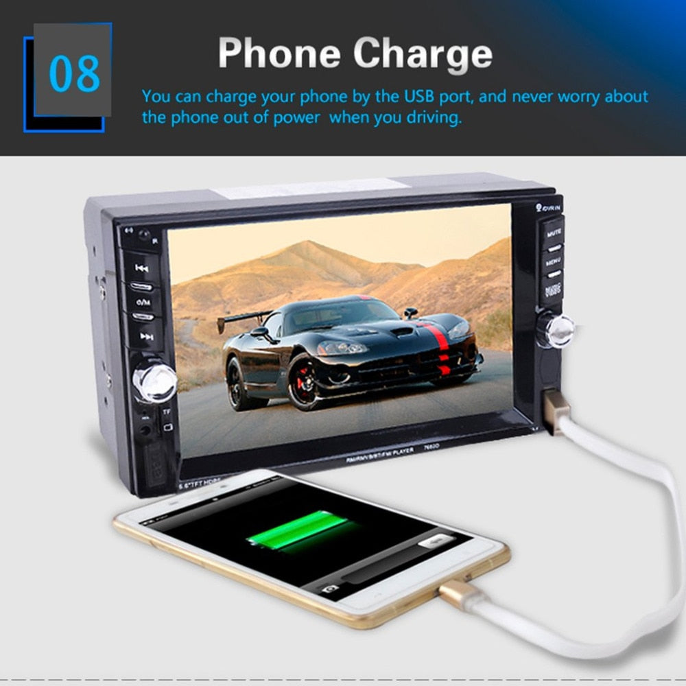 New 7625D HD Digital 6.6 Inch Touch Screen Car Multimedia Player Support Mobile Phone Interconnection Bluetooth Hands-free Call