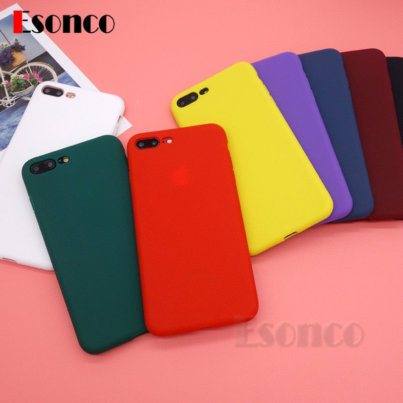 For iPhone 7 8 Case 6 6s 7Plus 8Plus Silicone Matte Protection 6Plus 6sPlus Case Soft Rubber Back Cover For iPhone X Cover