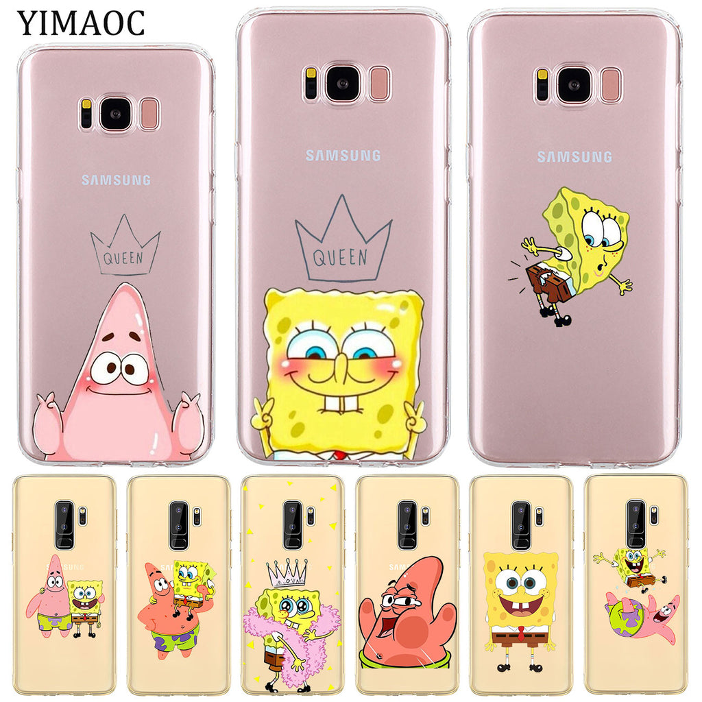 YIMAOC lovely Spongebob Soft Silicone Phone Shell Case for Samsung Galaxy S8 S9 Plus S7 Edge Note 9 8 Transparent Cover