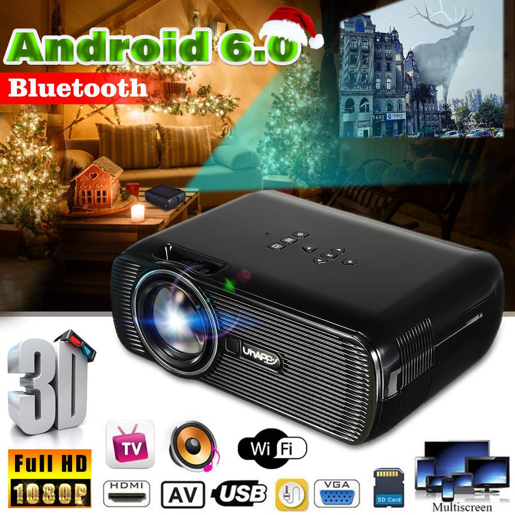 7000 Lumens Wifi Mini Projector HD 1080P Android Home Theatre System Cinema Wireless 3D HDMI