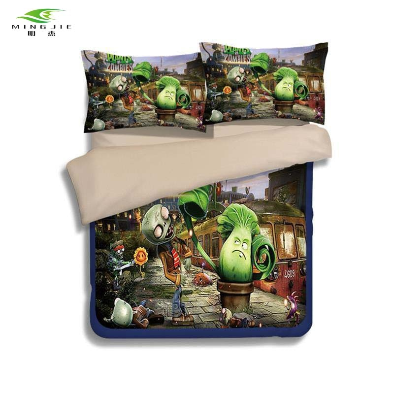 HOT SALE game theme bedding set Printed cotton queen full twin size 2/3 pcs Plants vs Zombies PVZ bed linen for Children's gift