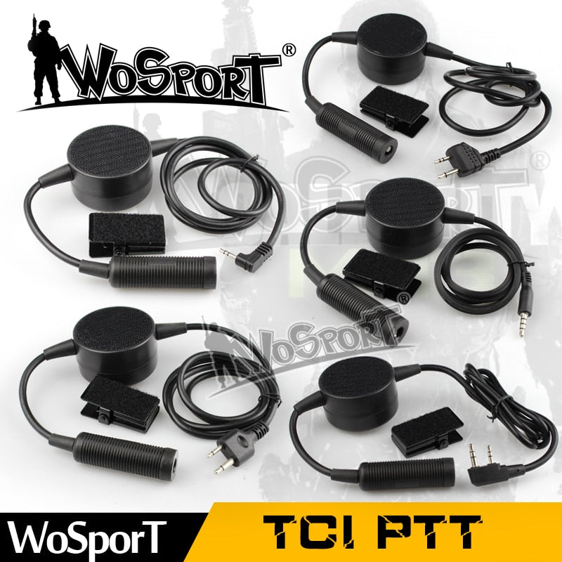 WoSporT TCI Headset PTT Cable Plug for Motorola Kenwood Icom Midland Tactical Headsets Phone All Handheld