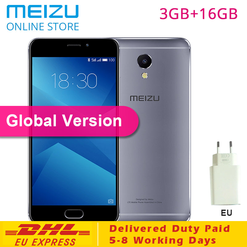"Meizu M5 Note 3GB RAM 16GB ROM M621H Global Version Smartphone MTK Helio P10 Octa Core 5.5"" 1080P 13MP Rear Camera EU Charge CE"