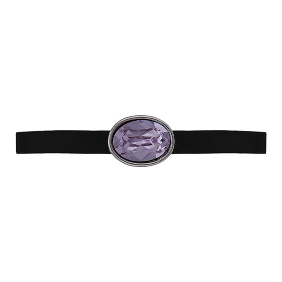 Nora Oval Black Leather Bracelet