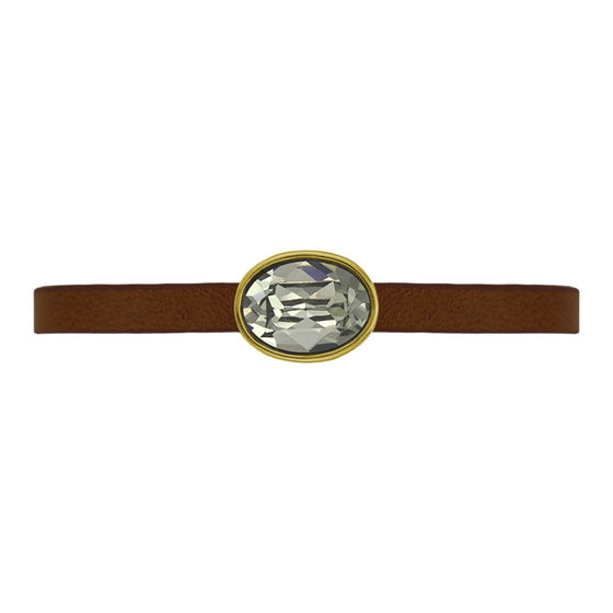 Nora Oval Brown Leather Bracelet