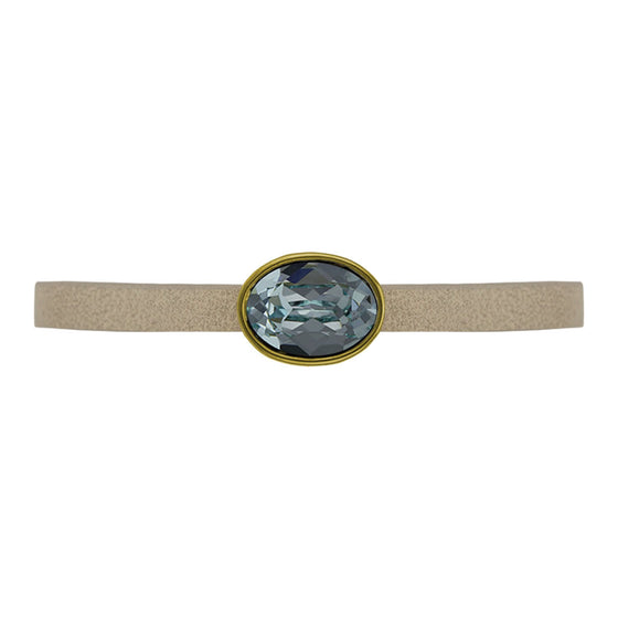 Nora Oval White Leather Bracelet